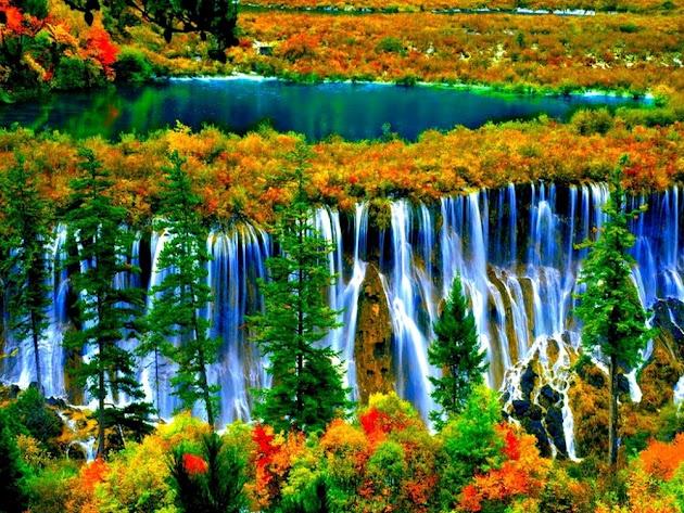 Colorful and beautiful Nuorilang Falls, China.
