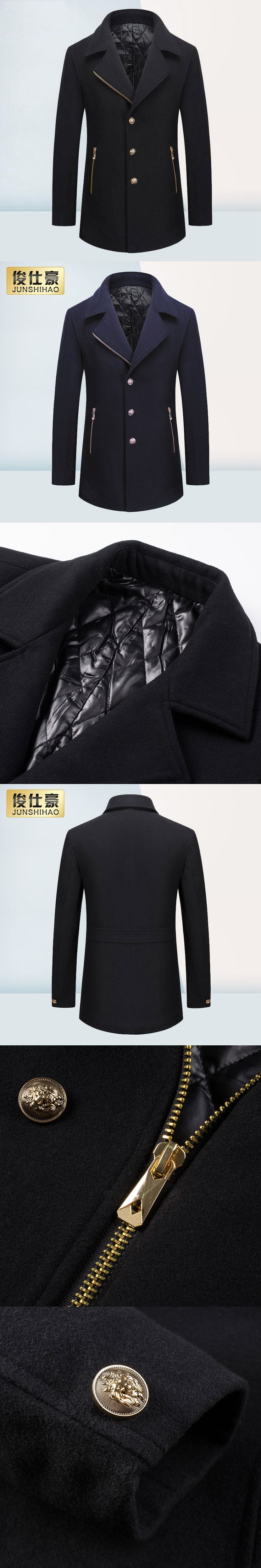 Autumn Winter Men's Wool Jackets High Quality Single-breasted Casual Suit Collar Wool Jacket Men Brand Zipper Coat Plus Size 3XL