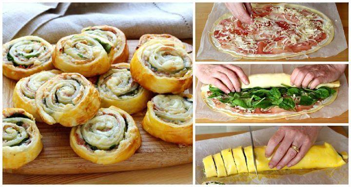 Come fare delle girandole di pasta sfoglia al prosciutto e formaggio?