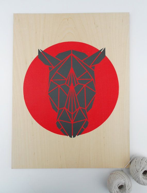 Geometric Rhino Head Stencil on Plywood. Handmade. Stencil Art. Faux Taxidermy. Geometric. Red. Origami. Original Art