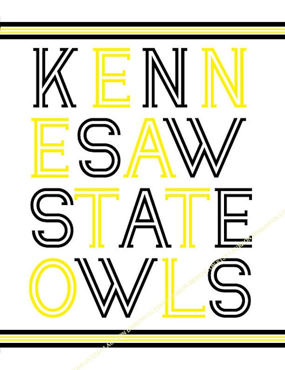 Kennesaw State Owls Print From The Laurkon Designs Collegiate Collection Etsy 10