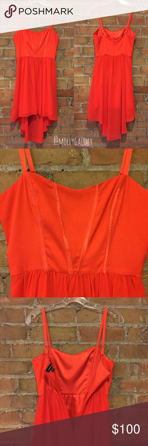 """BEBE """"Red [Orange!] High Low Woven Dress"""" I love this dress bc it's so silky & floaty on, but I've never had an occasion to wear it & now it's too short for my tastes. Important: it's listed online as """"red"""" but it's definitely a bright tangerine/orange (see pic w red ribbon for contrast). Also note: 4 ribbon-trimmed stays on front bodice, 2 on back, 1 on each side are all boned prob w plastic. Straps adjustable, fully lined, 15"""" armpit to armpit pulled slightly or 16"""" stretched, 12.5-12.75…"""