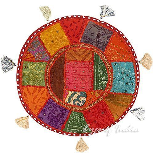 "18"" Indian Patchwork Cushion Cover Home Decor Meditation Round Floor Pillow #Handmade #Traditional #CushionCoverPillowCoverFloorCover"
