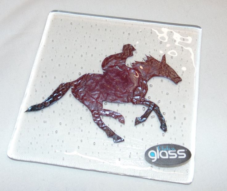 Bespoke Coaster featuring a Hand-Cut Copper Horse and Rider #equestrian by ClulessFusedGlass on Etsy