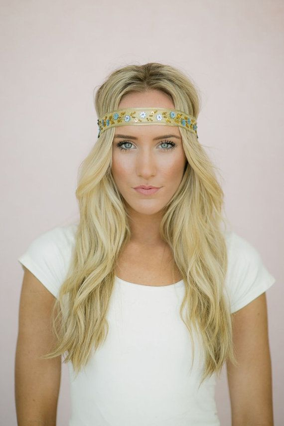 Boho Headband Beaded Hair Bands with Sequin and Floral Beaded Hippie Headband in Gold and Blue - Hip To It Headband(HB-10) on Etsy, $18.00