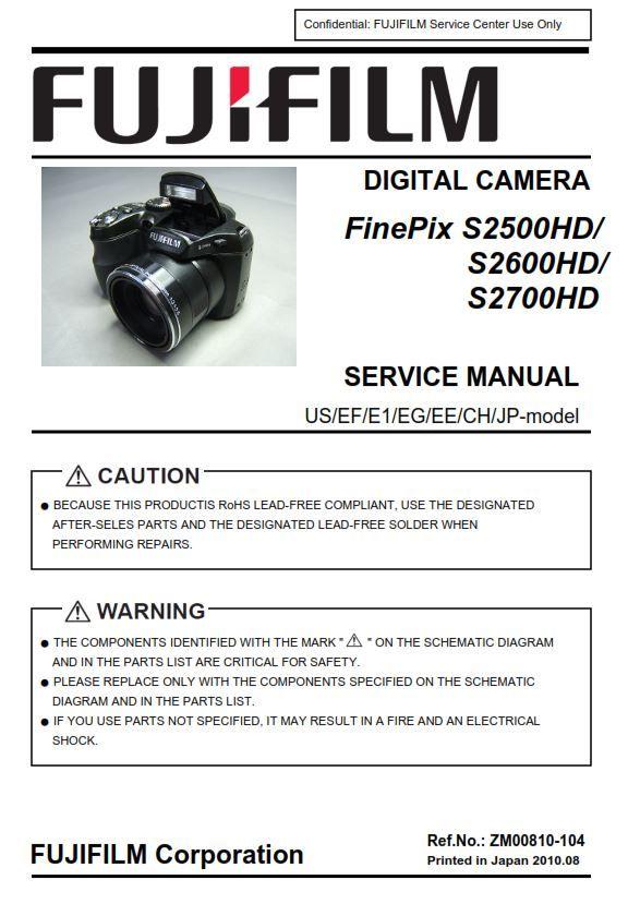 Fujifilm Finepix S2500hd S2600hd S2700hd Digital Camera Service Manual Repair Guide Fujifilm Finepix Finepix Digital Camera