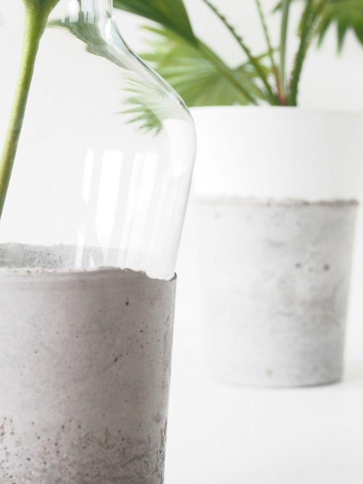 DIY Concrete Glass Vases RoughDetails
