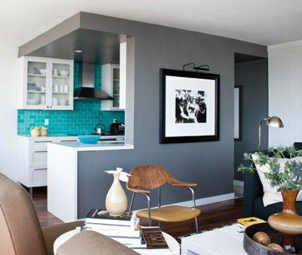 Grau Weiß Kombination Wohnbereich Trennung