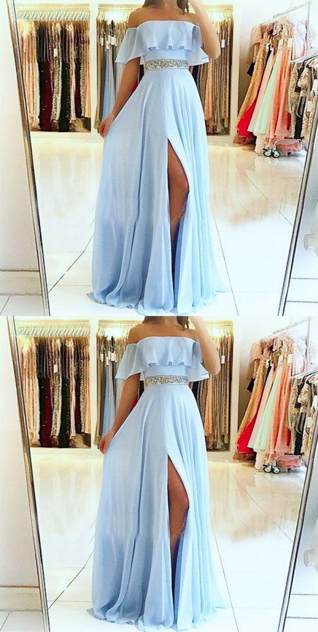 25 + › A-Linie von der Schulter mit geteilter Brust und blauem Chiffon-Abendkleid mit …