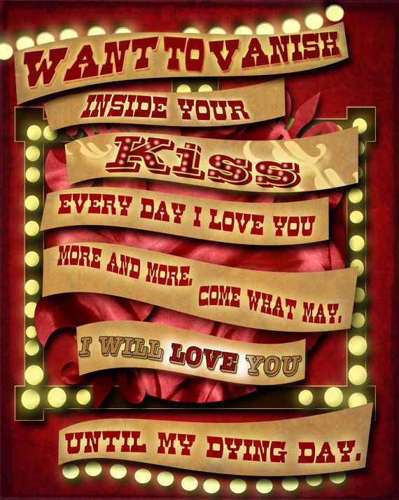 Moulin Rouge Romantic Quote Poster 12x15 by studiomarshallarts, $15.00