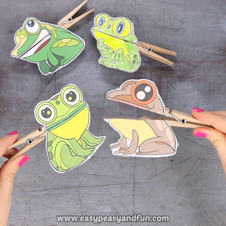 Frog Clothespin Puppets Printable Craft for Kids