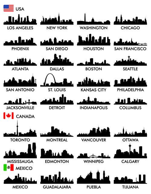 Big cities silhouette set vector 02