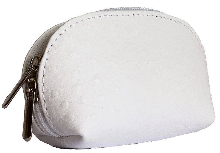 White Ostrich Leather Coin Purse
