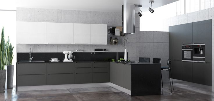 Кухня темного цвета со скрытыми ручками. Brutal kitchen.