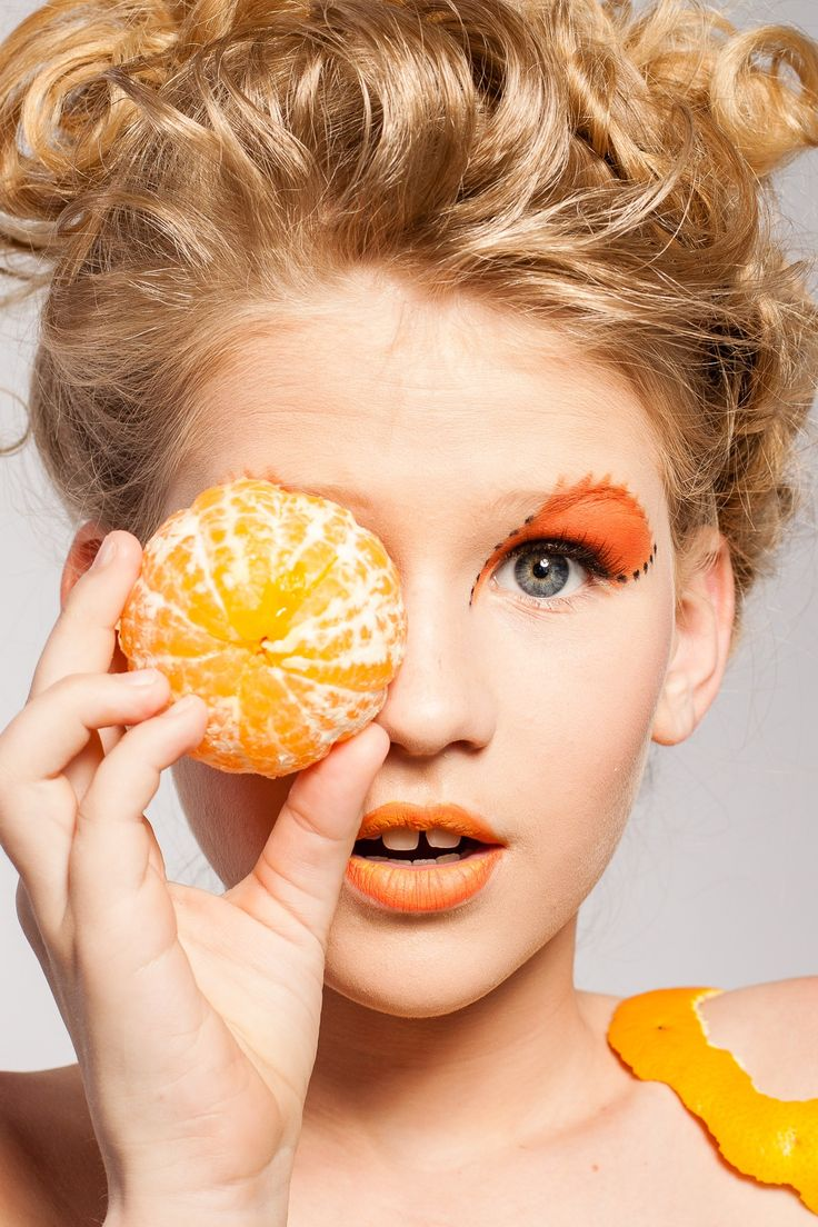 Woman, Girl, Portrait, Makeup, Model, Fruit, Fashion, Orange, Beauty, Photography