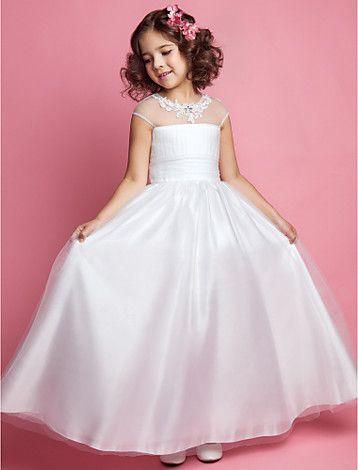 A-line Princess Jewel Tulle Flower girl Dress - EUR € 52.77