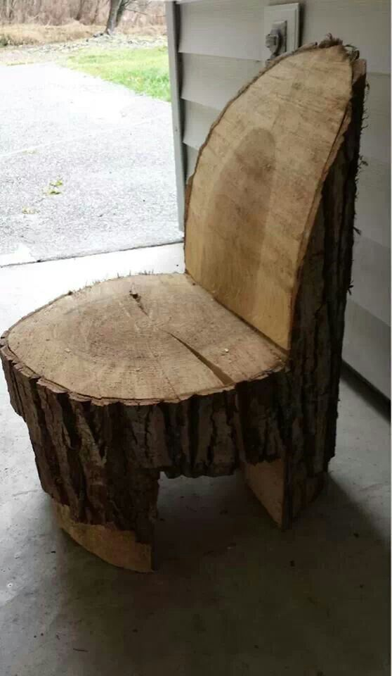 Log Chair smaller for kids wood be