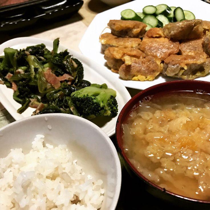 #晩ごはん( ´ ▽ ` )ノ#鶏肉のピカタ #キュウリスライス #ベーコンとほ...|SHOOP+FACTORY(シュープ・ファクトリー)@オーナーブログ