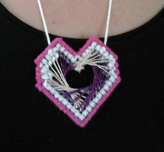 Heart shaped pendant // plastic canvas pink pendant // cross