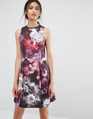 Oasis Winter Floral Skater Dress