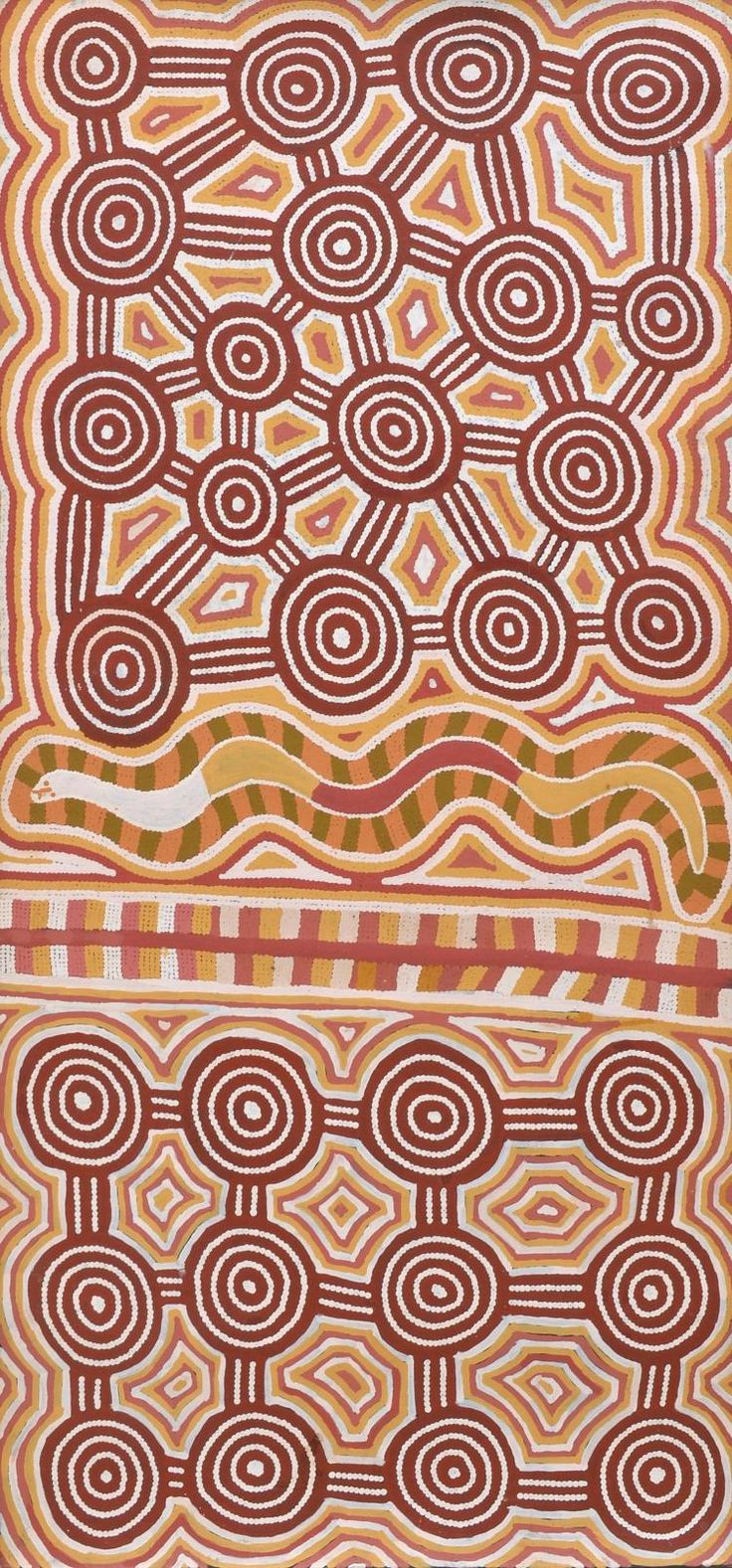 <b>RAY JAMES TJANGALA</b> <b>(BORN 1958)</b> <br  /> Tingari, 1994 <br  /> acrylic on linen <br  /> inscribed verso with artist''s name and Papunya Tula cat. no. RJ940816  <br  /> 153 x 72cm <br  />  <br  /> PROVENANCE: <br  /> Coo-ee Aboriginal Art Gallery, Sydney