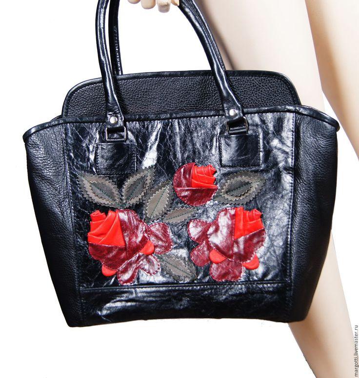 """Купить Кожаная сумка """"Итальянская роза"""" - черный, цветочный, сумка ручной работы"""