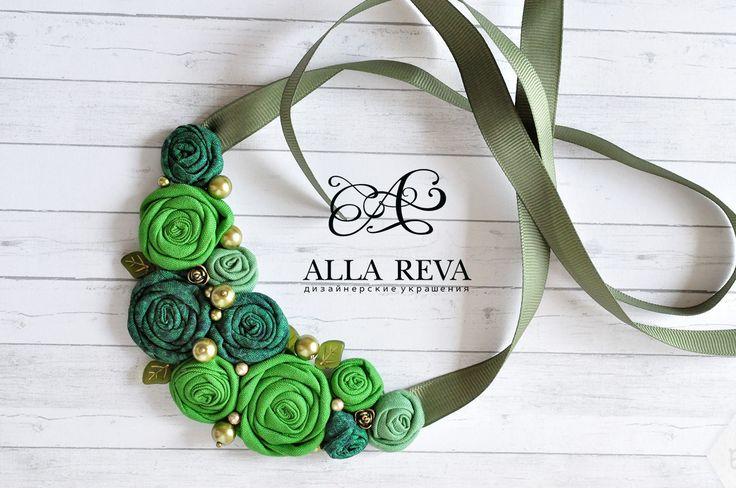 """Купить Колье """"Зеленая листва"""" - зеленый, колье, колье текстильное, текстиль, текстильные украшения, ткань"""