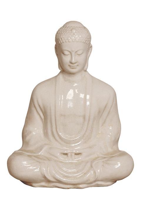 Antique White Ceramic Meditating Buddha Lotus Seat Sculpture- 23 Inch