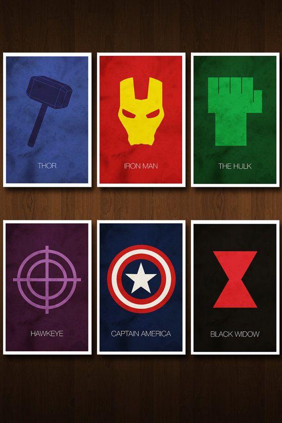 set of six avengers character art prints posters