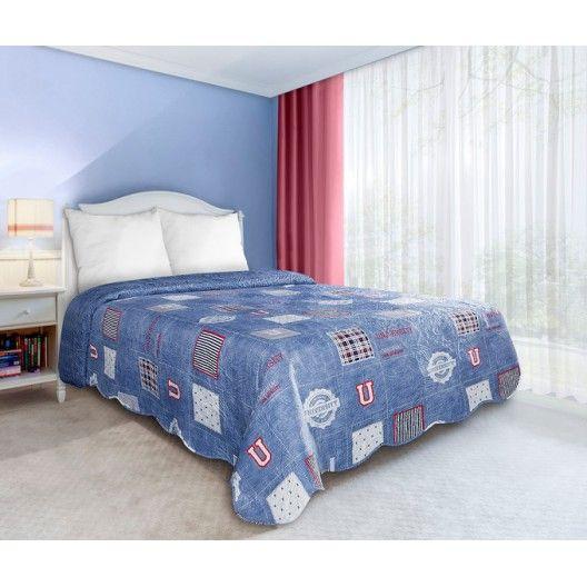UNIVERSITY oboustranné přehozy a deky na postel v modré barvě - dumdekorace.cz