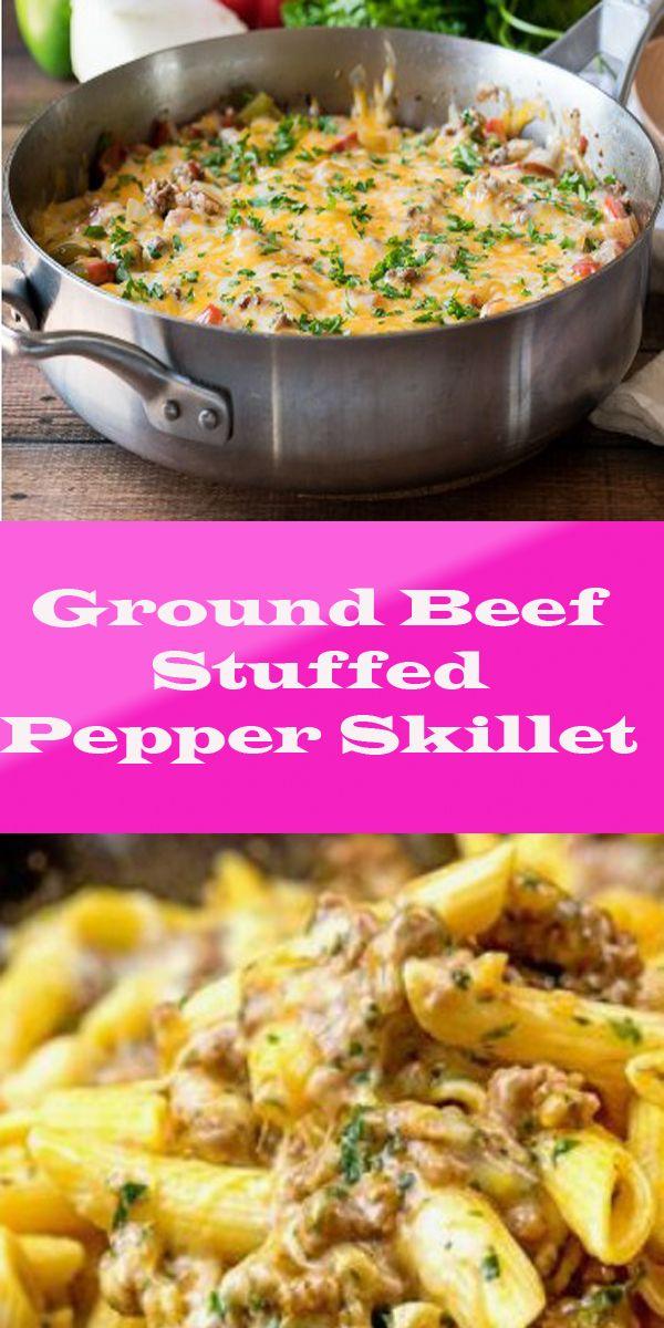 Ground Beef Stuffed Pepper Skillet Recipe Stuffed Peppers Easy Meat Recipes Ground Beef Recipes Easy