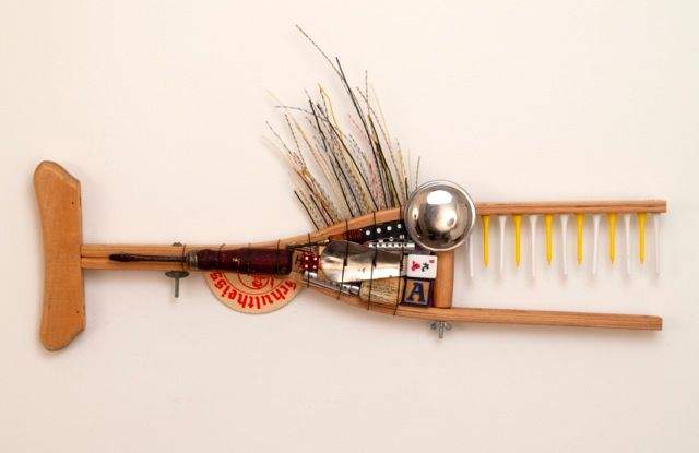This is a small crutch fish. Can you guess what the top fin is made from?  www.running-dog-studio.com