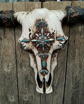 "Rustic Western cow skull w cross turquoise embellishments  21"" × 13"" home decor 
