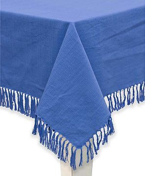 Mahagony Blue Fringed Cotton Tablecloth or Napkins (set of 4) - contemporary - Tablecloths - Overstock.com