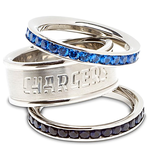 Logo Art San Diego Chargers Ladies Spirit Crystal Stacked