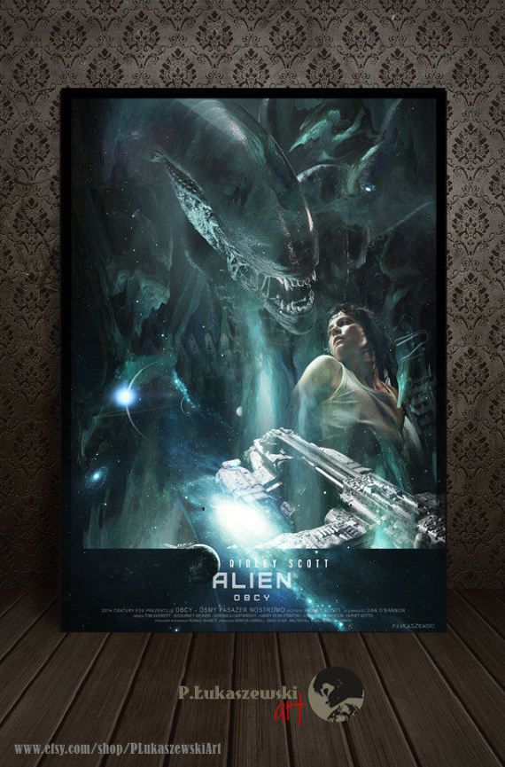 ALIEN - Ridley Scott - movie poster / print [ Sigourney Weaver - Ripley Tom Skerritt Ian Holm John Hurt Harry Dean Stanton ] horror sci-fi