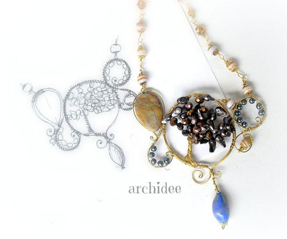 Brown Tree Of Life Necklace di archidee su Etsy, €30.00