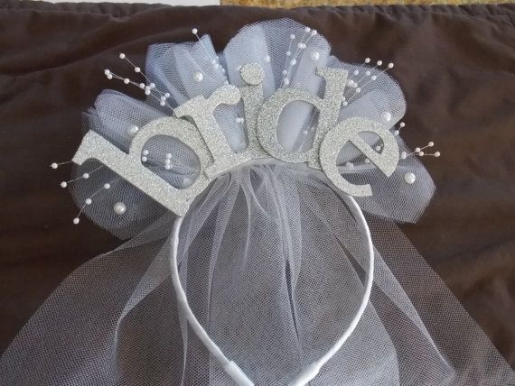 Bride Party  XL sparkle Headband  with veil for new  Bride to be , Bride Gift…