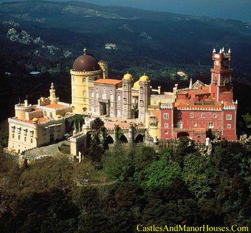 São Pedro de Penaferrim (The Pena National Palace), Municipality of Sintra, Portugal.... www.castlesandmanorhouses.com ... The Pena National Palace is a Romanticist palace on a hill above the town of Sintra. On a clear day it can be easily seen from Lisbon It is a national monument and a notable expression of 19th-century Romanticism. A UNESCO World Heritage Site, it is used for state occasions by the President of the Portuguese Republic and by other government ministers.