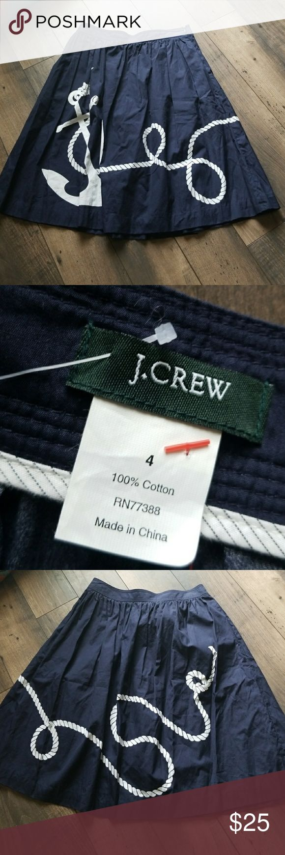 J Crew Navy and White Anchor skirt Super Cute nautical skirt on perfect condition J. Crew Skirts