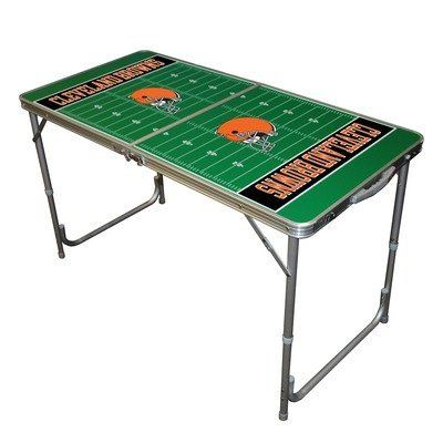 """NFL 2x4 Tailgate Table NFL Team: Cleveland Browns by Tailgate Toss. $62.87. Surface represents a football field.. Cleveland Browns Tailgate Table.. Lightweight and sturdy aluminum tailgate table.. Folds up for easy transport and storage.. Exclusively Licensed with the NFL.. TTABLE-107 NFL Team: Cleveland Browns Features: -Tailgate table. Color/Finish: -Officially licensed NFL team colors and logo. Dimensions: -Dimensions: 2"""" H x 24"""" W x 24"""" D."""