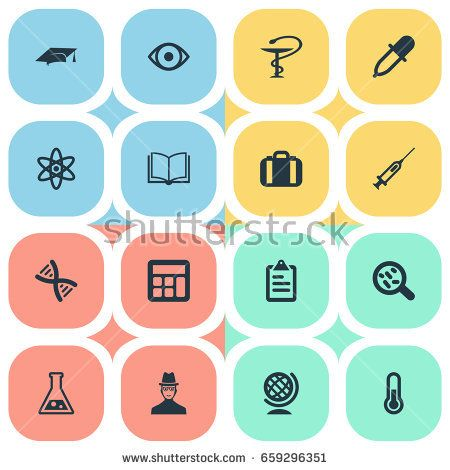 Vector Illustration Set Of Simple Knowledge Icons. Elements Briefcase, Helix, Researcher And Other Synonyms Reckoning, Genetic And Substance.