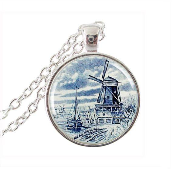 windmolen kunst hanger bedel holland reizen kunst ketting nederlandse delft stijl blauw wit beeld hanger(