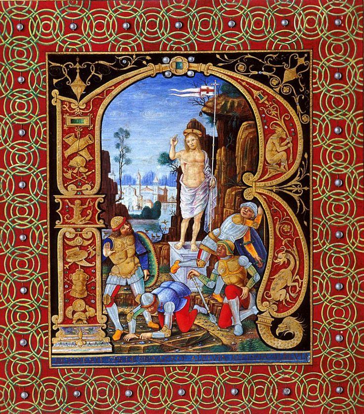 """Iniziale """"R"""" (Resuresit C[h]r[istu]s De Sepulcro Aleluia Aleluia Aleluia), frammento da un corale di Alessandro VI (1492-1503), British Library, Londra."""