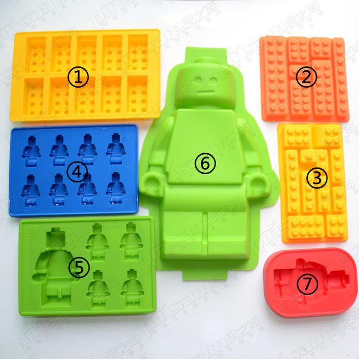 Fori Lego Mini Figure Robot Ice Cube Muffa Del Vassoio Torta Al Cioccolato Jelly Jello Stampo In Silicone Fondente Stampi Torta Tools