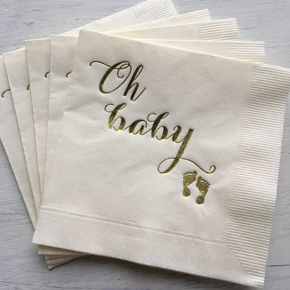 Great Baby Shower, Baby Girl, Baby Sprinkle, Luncheon, Gold Cocktail Napkin, Gold