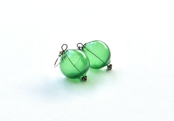 Green earrings Silver earrings Murano earrings Blown by BeadABoo