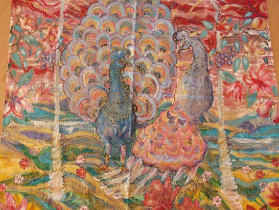 handbemalte roten und blauen satin seide Schal Motiv von aminamarei