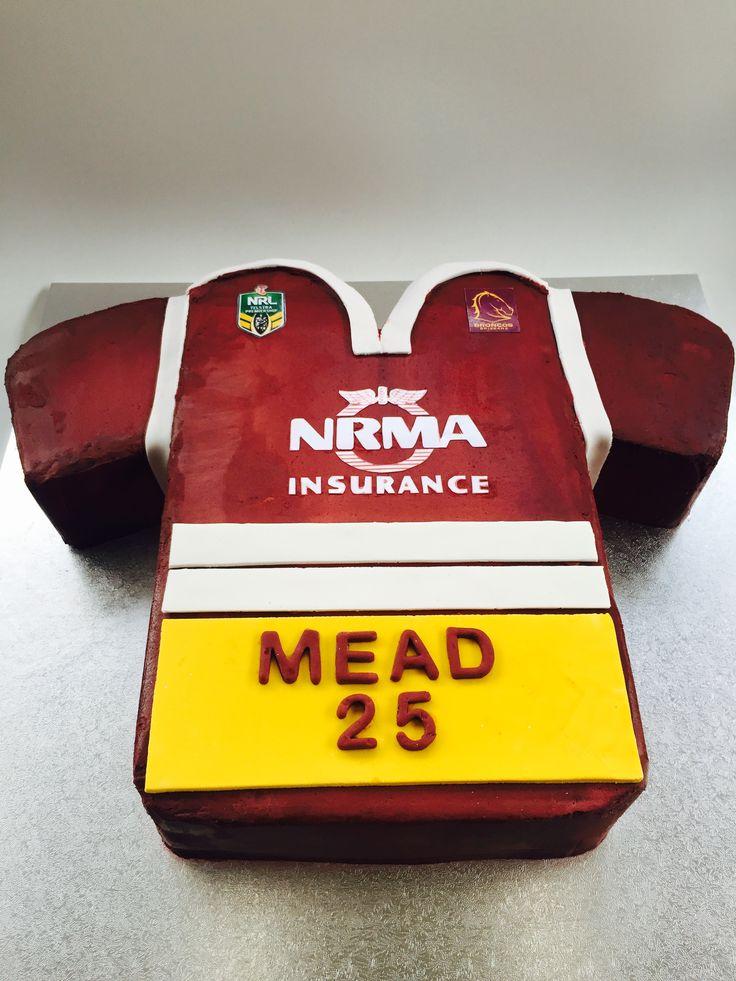 Brisbane Broncos NRL Jersey Birthday Cake