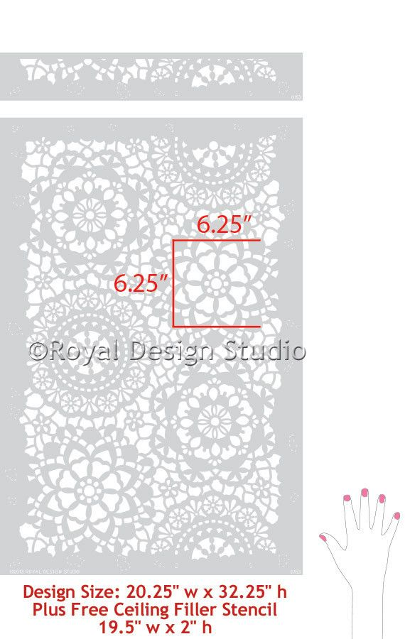 Allover Wall Stencil Parlor Lace Hand Image - Royal Design Studio Stencils---good site for ideas of many different stencils and uses